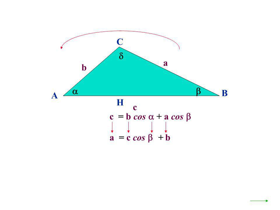 A B C a c H c = b cos + a cos b a = c cos + b