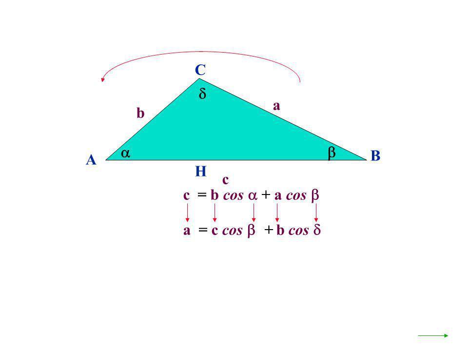 A B C a c H c = b cos + a cos b a = c cos + b cos