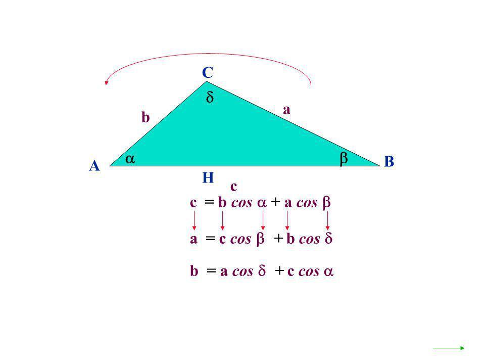 A B C a c H c = b cos + a cos b a = c cos + b cos b = a cos + c cos