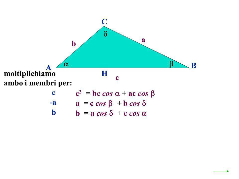 A B C a c H c 2 = bc cos + ac cos b a = c cos + b cos b = a cos + c cos moltiplichiamo ambo i membri per: c -a b
