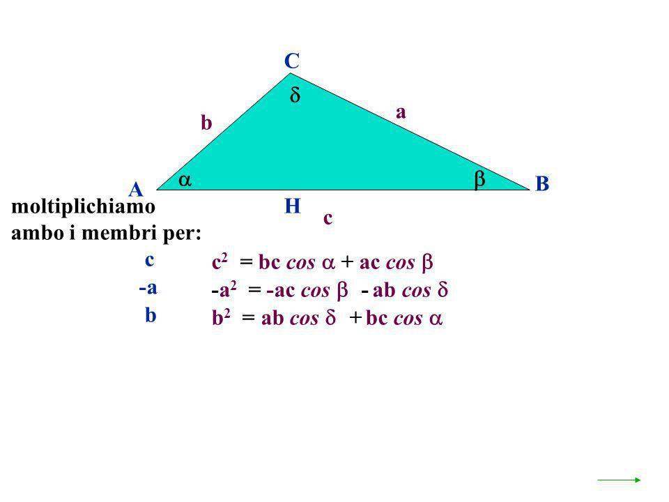 A B C a c H c 2 = bc cos + ac cos b -a 2 = -ac cos - ab cos b 2 = ab cos + bc cos moltiplichiamo ambo i membri per: c -a b