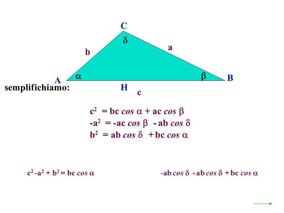 A B C a c H c 2 = bc cos + ac cos b -a 2 = -ac cos - ab cos b 2 = ab cos + bc cos semplifichiamo: