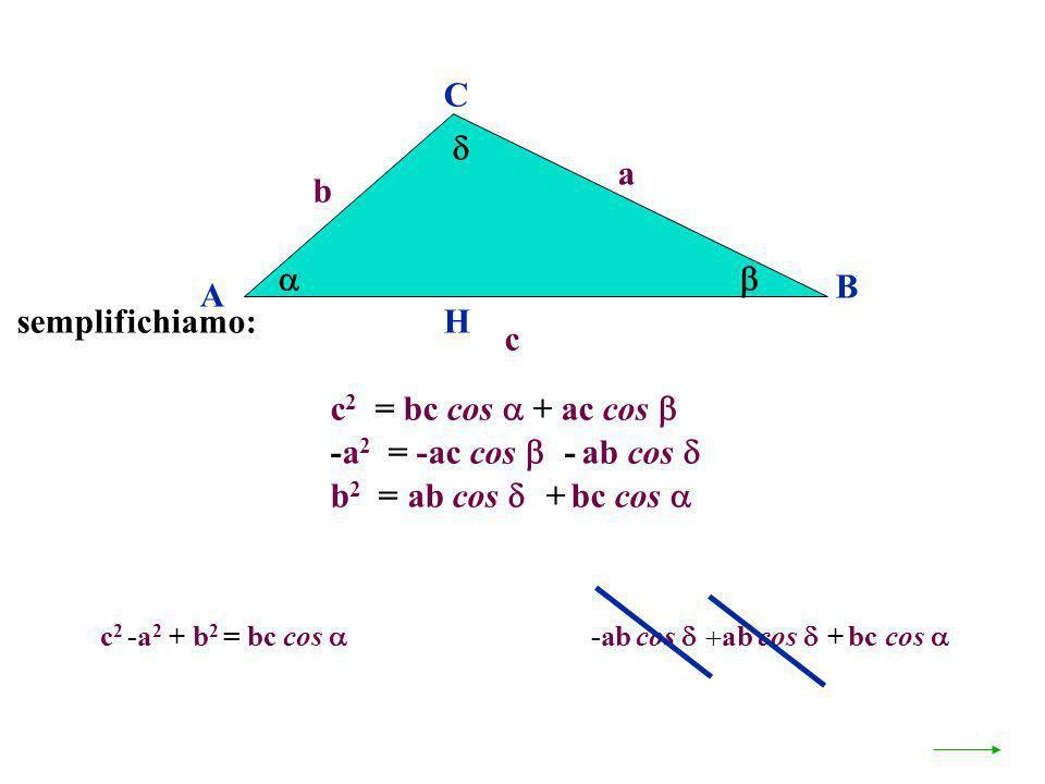 c 2 -a 2 + b 2 = bc cos + accos -ac cos -ab cos ab cos + bc cos A B C a c H c 2 = bc cos + ac cos b -a 2 = -ac cos - ab cos b 2 = ab cos + bc cos semp