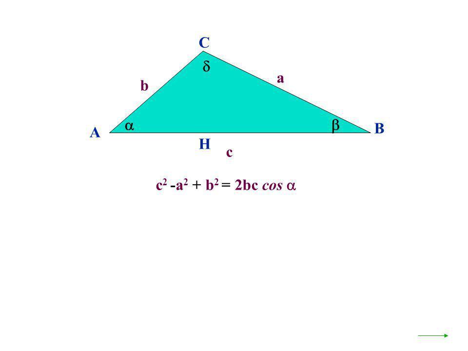 c 2 -a 2 + b 2 = 2bc cos A B C a c H b