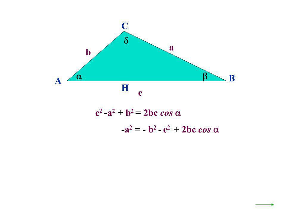 c 2 -a 2 + b 2 = 2bc cos A B C a c H b -a 2 = - b 2 - c 2 + 2bc cos
