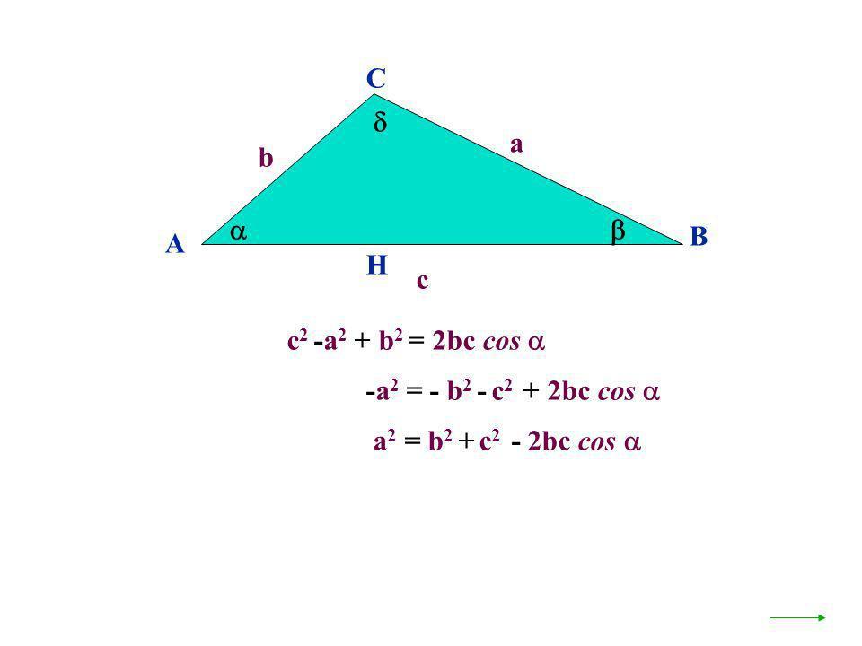c 2 -a 2 + b 2 = 2bc cos A B C a c H b -a 2 = - b 2 - c 2 + 2bc cos a 2 = b 2 + c 2 - 2bc cos