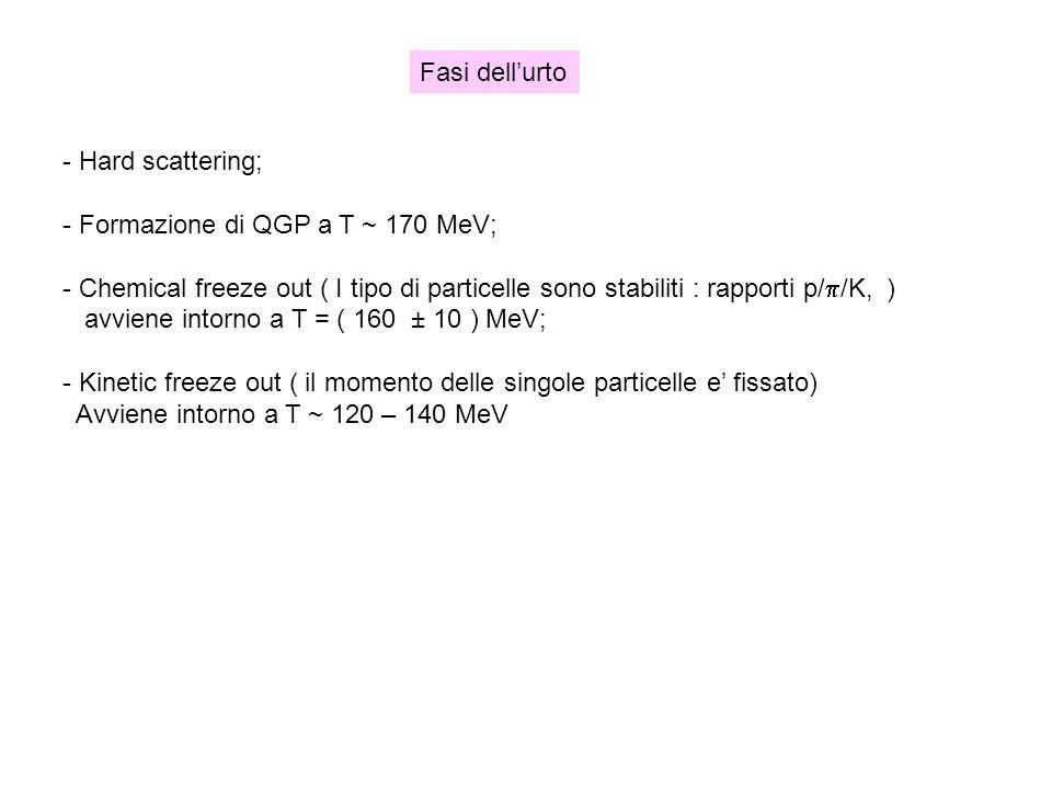 - Hard scattering; - Formazione di QGP a T ~ 170 MeV; - Chemical freeze out ( I tipo di particelle sono stabiliti : rapporti p/ /K, ) avviene intorno
