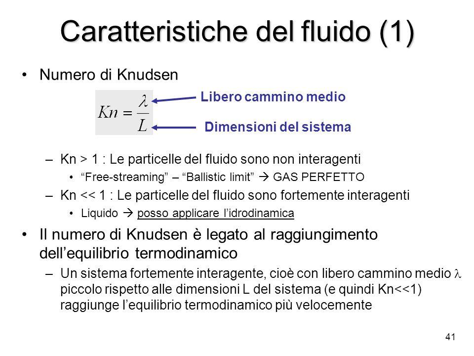 41 Caratteristiche del fluido (1) Numero di Knudsen –Kn > 1 : Le particelle del fluido sono non interagenti Free-streaming – Ballistic limit GAS PERFE
