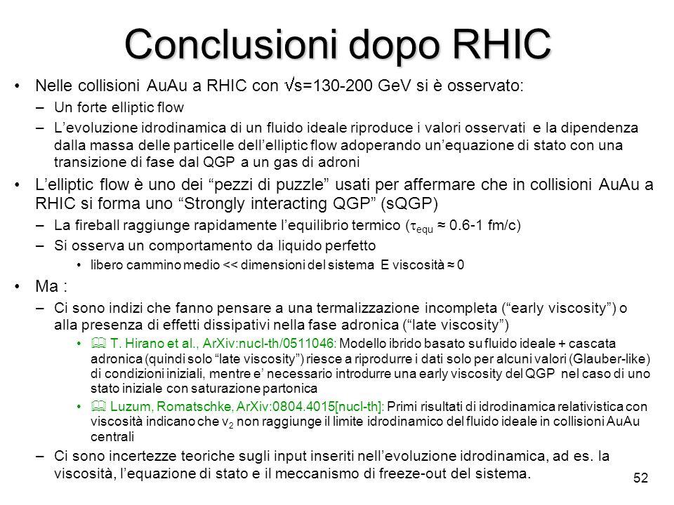 52 Conclusioni dopo RHIC Nelle collisioni AuAu a RHIC con s=130-200 GeV si è osservato: –Un forte elliptic flow –Levoluzione idrodinamica di un fluido