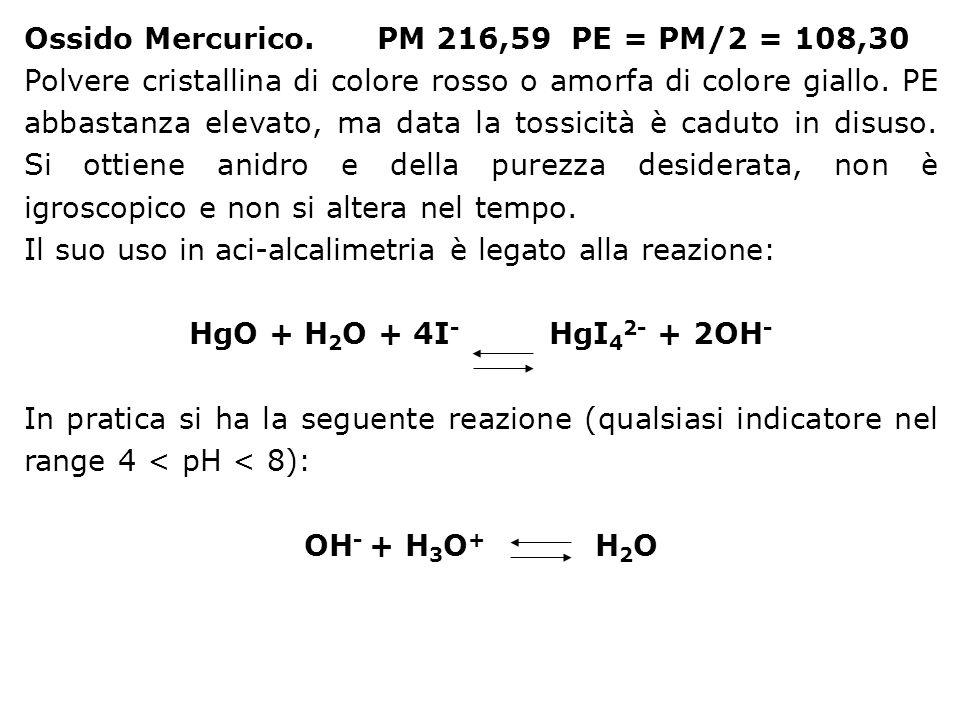 Ossido Mercurico. PM 216,59 PE = PM/2 = 108,30 Polvere cristallina di colore rosso o amorfa di colore giallo. PE abbastanza elevato, ma data la tossic