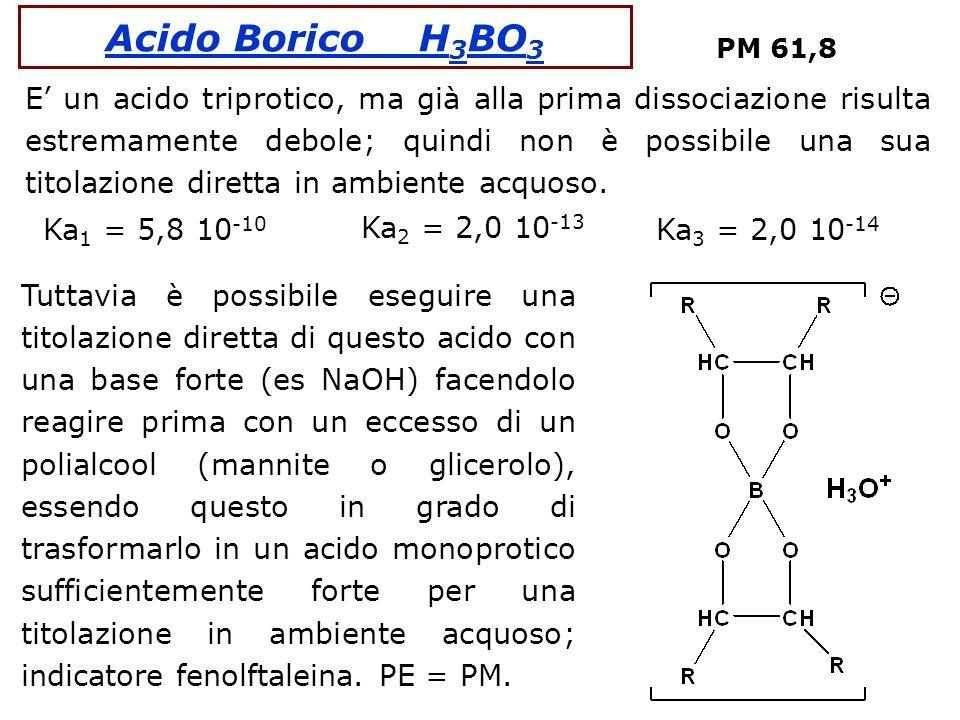 Acido Borico H 3 BO 3 PM 61,8 E un acido triprotico, ma già alla prima dissociazione risulta estremamente debole; quindi non è possibile una sua titol