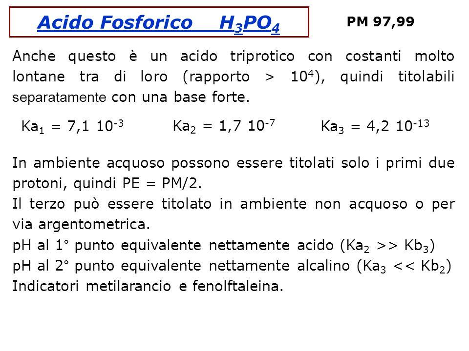 Acido Fosforico H 3 PO 4 PM 97,99 Anche questo è un acido triprotico con costanti molto lontane tra di loro (rapporto > 10 4 ), quindi titolabili sepa
