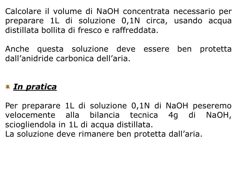 Calcolare il volume di NaOH concentrata necessario per preparare 1L di soluzione 0,1N circa, usando acqua distillata bollita di fresco e raffreddata.