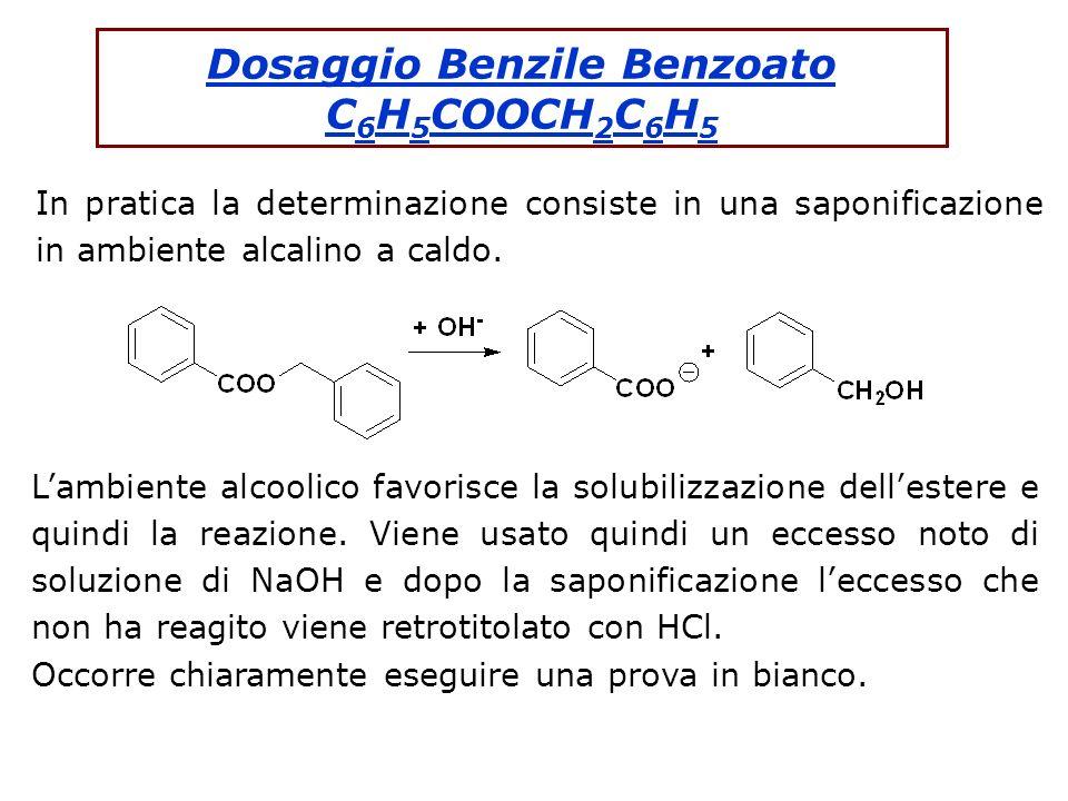 Dosaggio Benzile Benzoato C 6 H 5 COOCH 2 C 6 H 5 In pratica la determinazione consiste in una saponificazione in ambiente alcalino a caldo. Lambiente