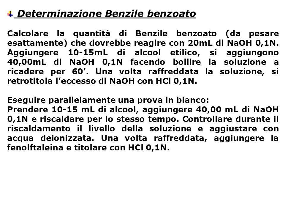 Determinazione Benzile benzoato Calcolare la quantità di Benzile benzoato (da pesare esattamente) che dovrebbe reagire con 20mL di NaOH 0,1N. Aggiunge