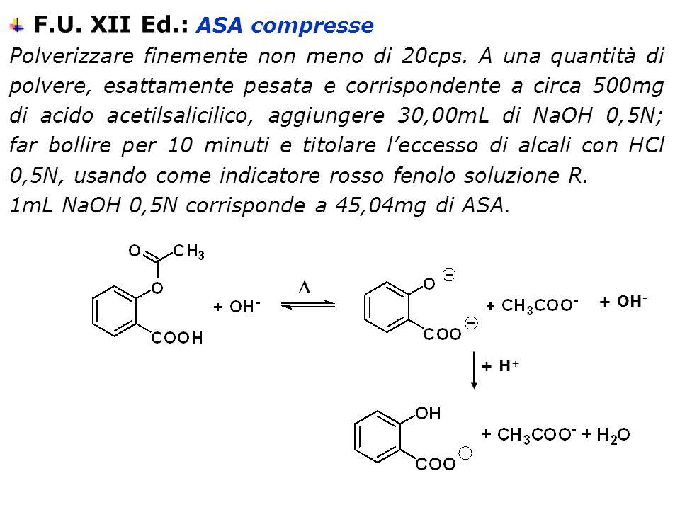 F.U. XII Ed.: ASA compresse Polverizzare finemente non meno di 20cps. A una quantità di polvere, esattamente pesata e corrispondente a circa 500mg di