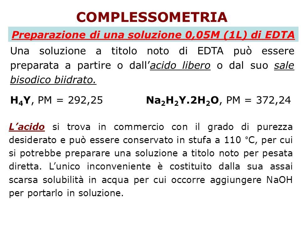 COMPLESSOMETRIA Preparazione di una soluzione 0,05M (1L) di EDTA Una soluzione a titolo noto di EDTA può essere preparata a partire o dallacido libero