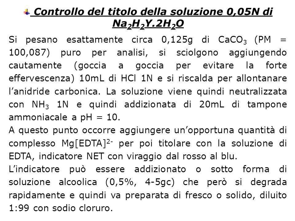 Controllo del titolo della soluzione 0,05N di Na 2 H 2 Y.2H 2 O Si pesano esattamente circa 0,125g di CaCO 3 (PM = 100,087) puro per analisi, si sciol