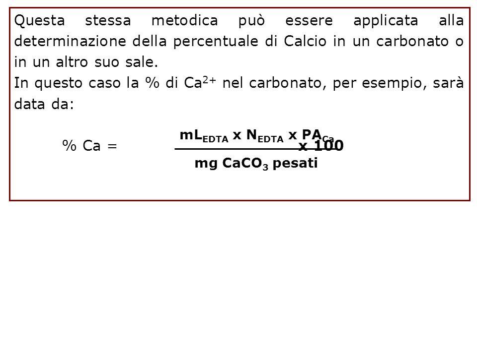Questa stessa metodica può essere applicata alla determinazione della percentuale di Calcio in un carbonato o in un altro suo sale. In questo caso la