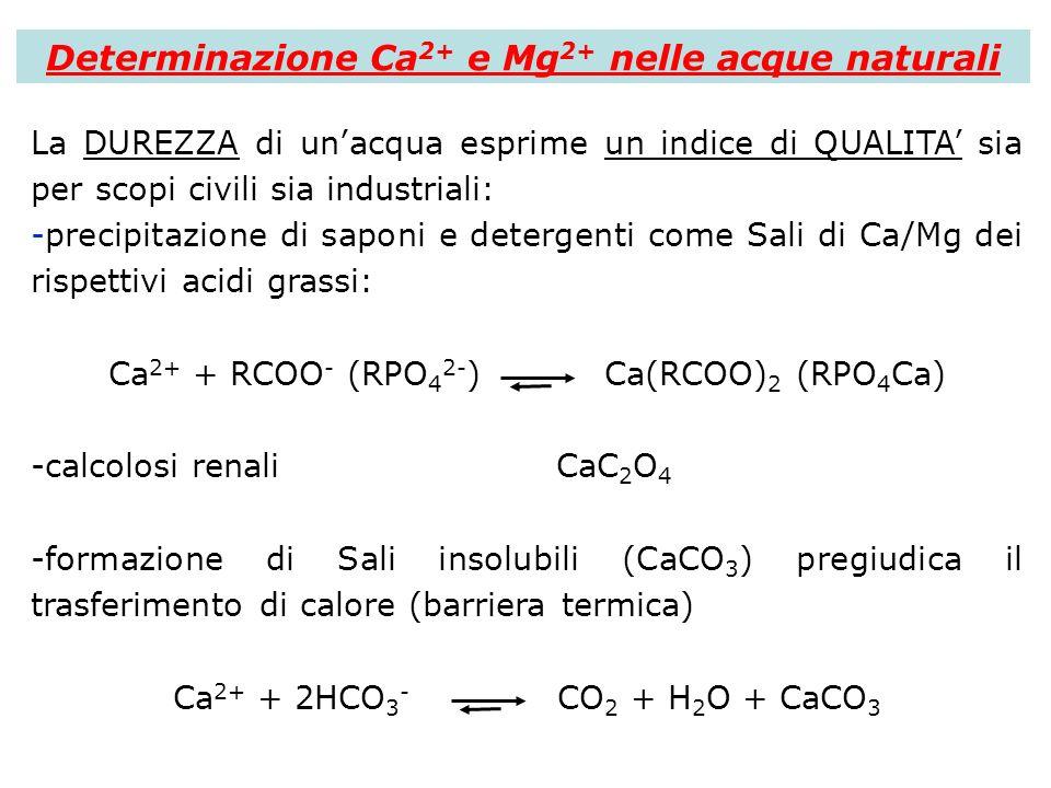 Determinazione Ca 2+ e Mg 2+ nelle acque naturali La DUREZZA di unacqua esprime un indice di QUALITA sia per scopi civili sia industriali: -precipitaz