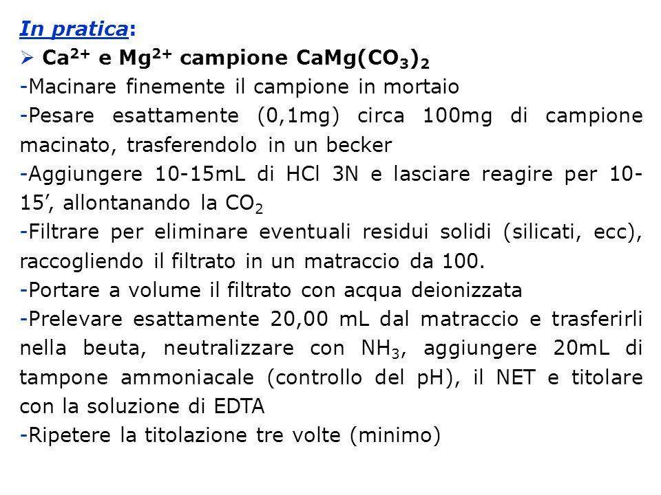 In pratica: Ca 2+ e Mg 2+ campione CaMg(CO 3 ) 2 -Macinare finemente il campione in mortaio -Pesare esattamente (0,1mg) circa 100mg di campione macina