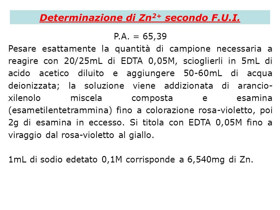 Determinazione di Zn 2+ secondo F.U.I. P.A. = 65,39 Pesare esattamente la quantità di campione necessaria a reagire con 20/25mL di EDTA 0,05M, sciogli
