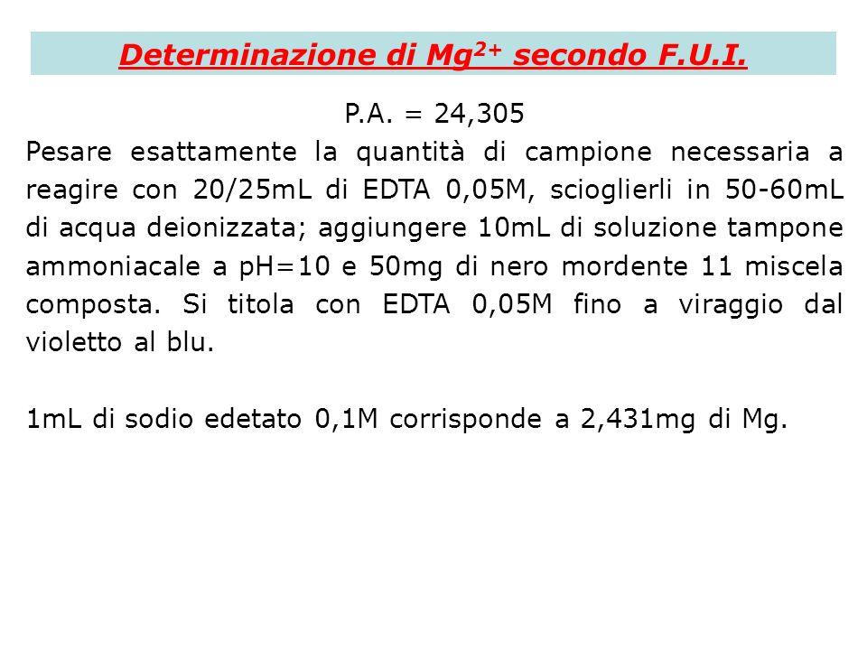 Determinazione di Mg 2+ secondo F.U.I. P.A. = 24,305 Pesare esattamente la quantità di campione necessaria a reagire con 20/25mL di EDTA 0,05M, sciogl