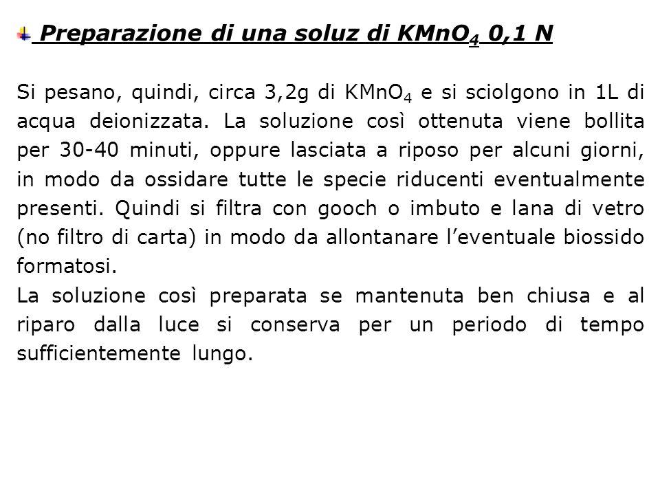 Preparazione di una soluz di KMnO 4 0,1 N Si pesano, quindi, circa 3,2g di KMnO 4 e si sciolgono in 1L di acqua deionizzata. La soluzione così ottenut