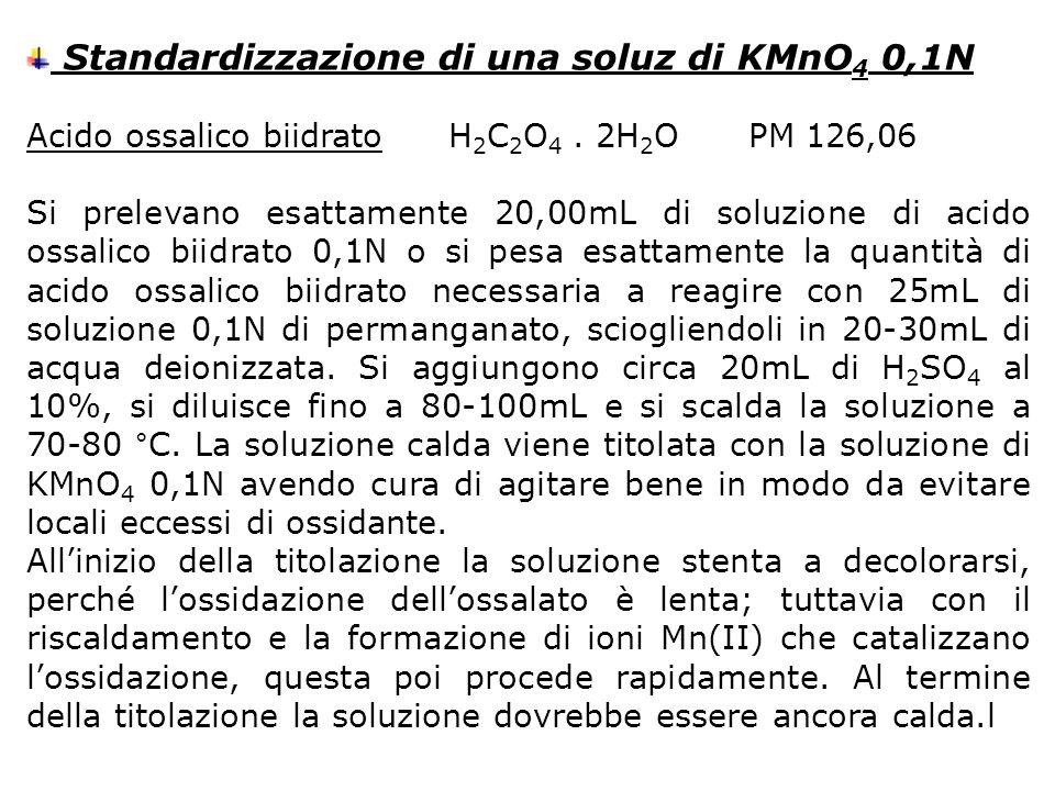 Standardizzazione di una soluz di KMnO 4 0,1N Acido ossalico biidratoH 2 C 2 O 4. 2H 2 O PM 126,06 Si prelevano esattamente 20,00mL di soluzione di ac