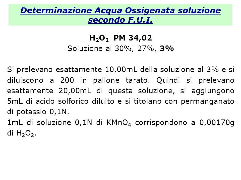 Determinazione Acqua Ossigenata soluzione secondo F.U.I. H 2 O 2 PM 34,02 Soluzione al 30%, 27%, 3% Si prelevano esattamente 10,00mL della soluzione a