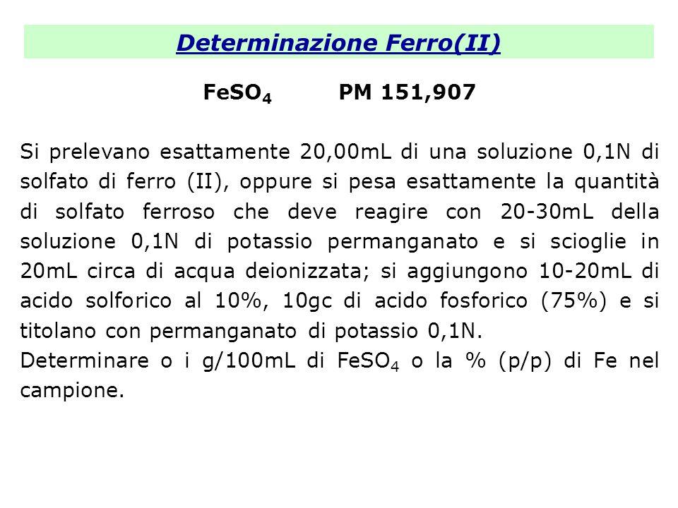 Determinazione Ferro(II) FeSO 4 PM 151,907 Si prelevano esattamente 20,00mL di una soluzione 0,1N di solfato di ferro (II), oppure si pesa esattamente