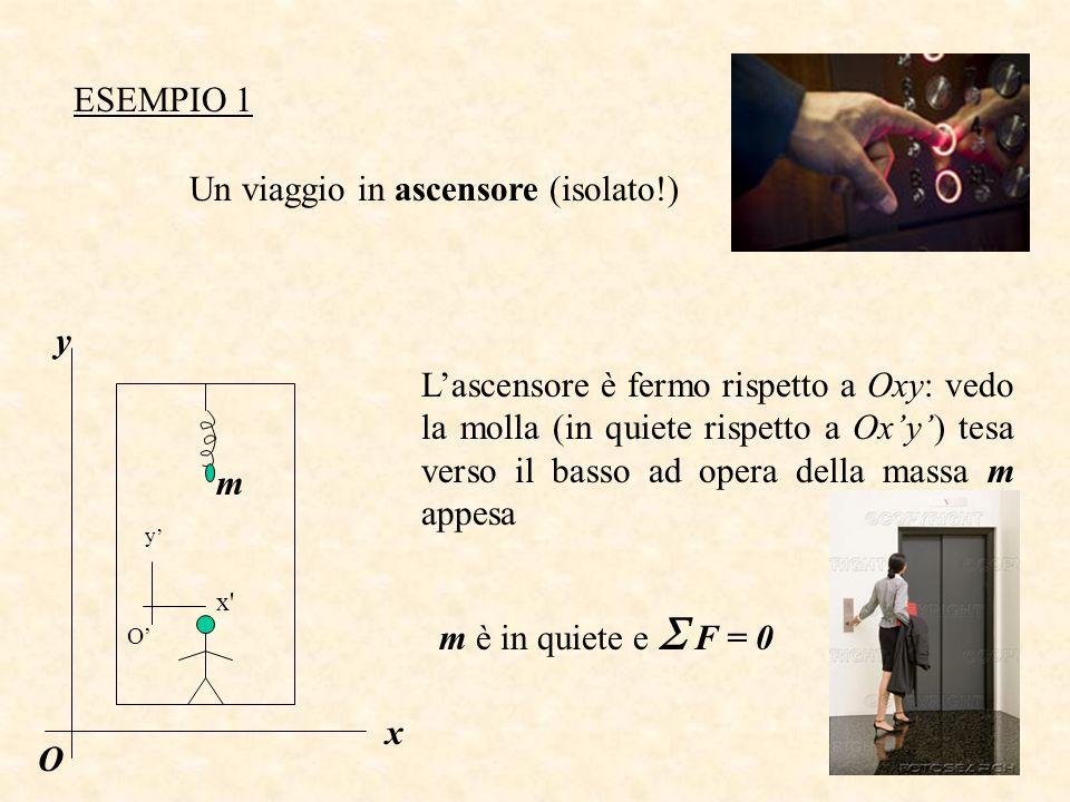 ESEMPIO 1 Un viaggio in ascensore (isolato!) Lascensore è fermo rispetto a Oxy: vedo la molla (in quiete rispetto a Oxy) tesa verso il basso ad opera della massa m appesa m è in quiete e F = 0 x y O y x m O