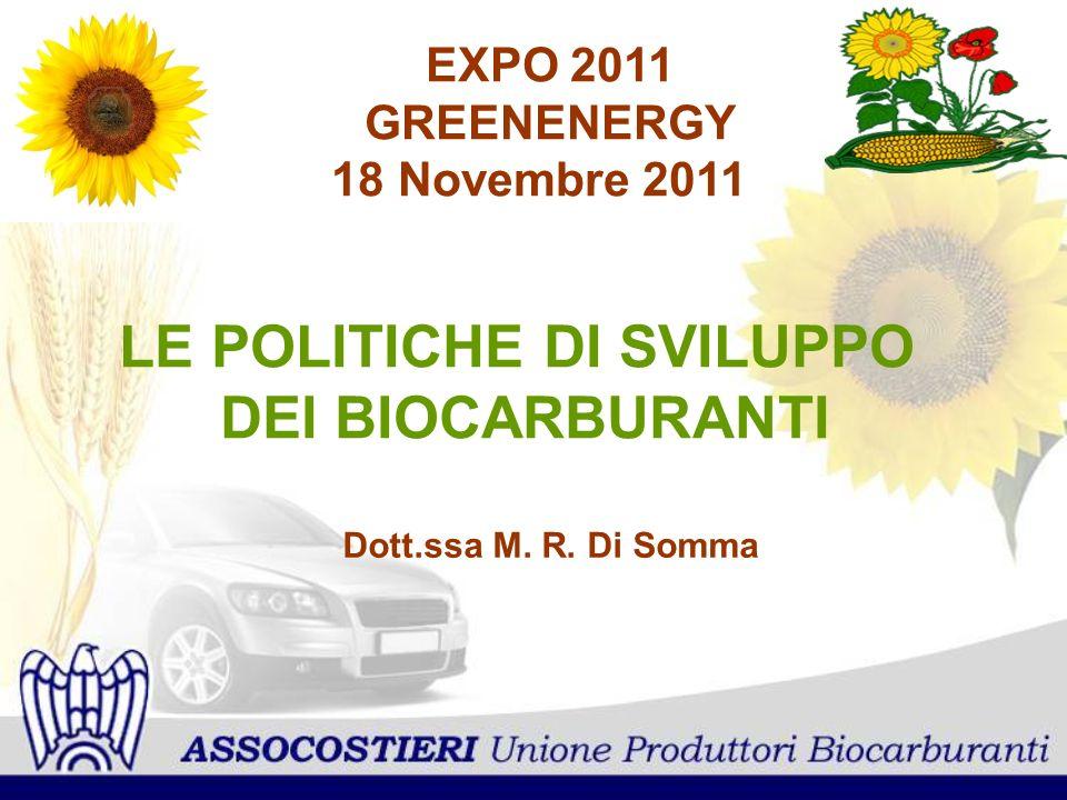LE POLITICHE DI SVILUPPO DEI BIOCARBURANTI EXPO 2011 GREENENERGY 18 Novembre 2011 Dott.ssa M. R. Di Somma