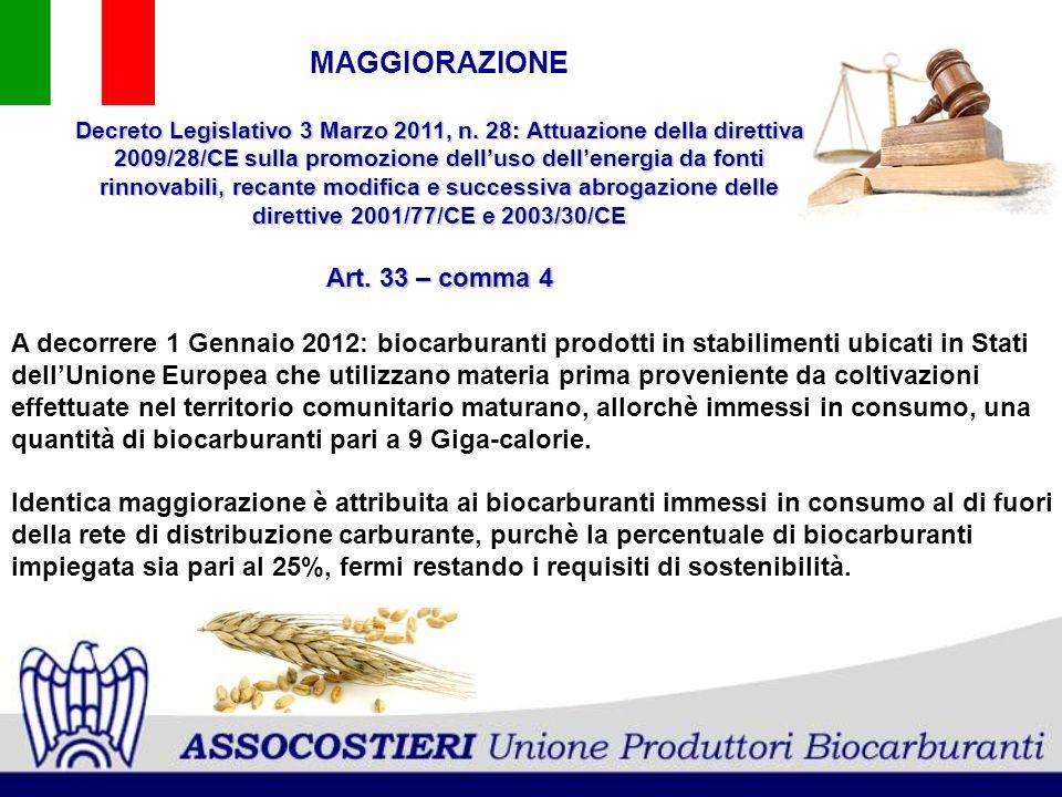 A decorrere 1 Gennaio 2012: biocarburanti prodotti in stabilimenti ubicati in Stati dellUnione Europea che utilizzano materia prima proveniente da col