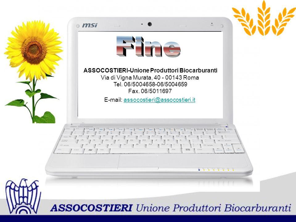 ASSOCOSTIERI-Unione Produttori Biocarburanti Via di Vigna Murata, 40 - 00143 Roma Tel. 06/5004658-06/5004659 Fax. 06/5011697 E-mail: assocostieri@asso