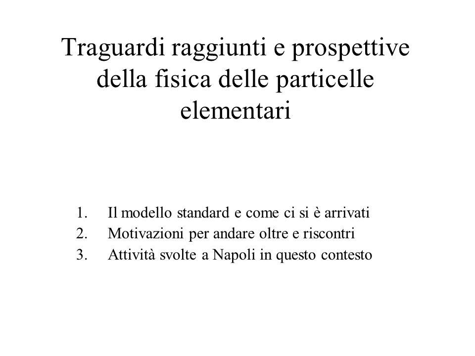 Traguardi raggiunti e prospettive della fisica delle particelle elementari 1.Il modello standard e come ci si è arrivati 2.Motivazioni per andare oltr