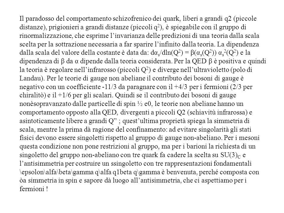 Il paradosso del comportamento schizofrenico dei quark, liberi a grandi q2 (piccole distanze), prigionieri a grandi distanze (piccoli q 2 ), è spiegab