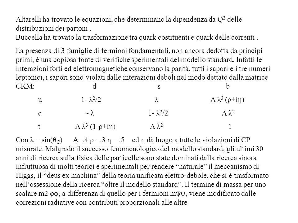 Altarelli ha trovato le equazioni, che determinano la dipendenza da Q 2 delle distribuzioni dei partoni. Buccella ha trovato la trasformazione tra qua