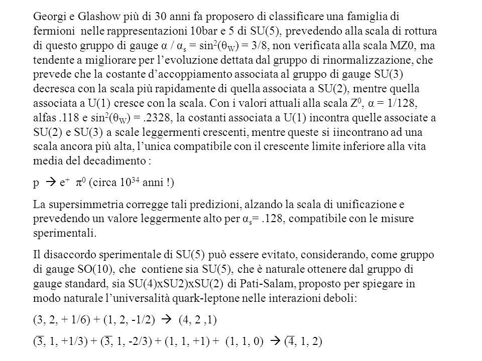 Georgi e Glashow più di 30 anni fa proposero di classificare una famiglia di fermioni nelle rappresentazioni 10bar e 5 di SU(5), prevedendo alla scala