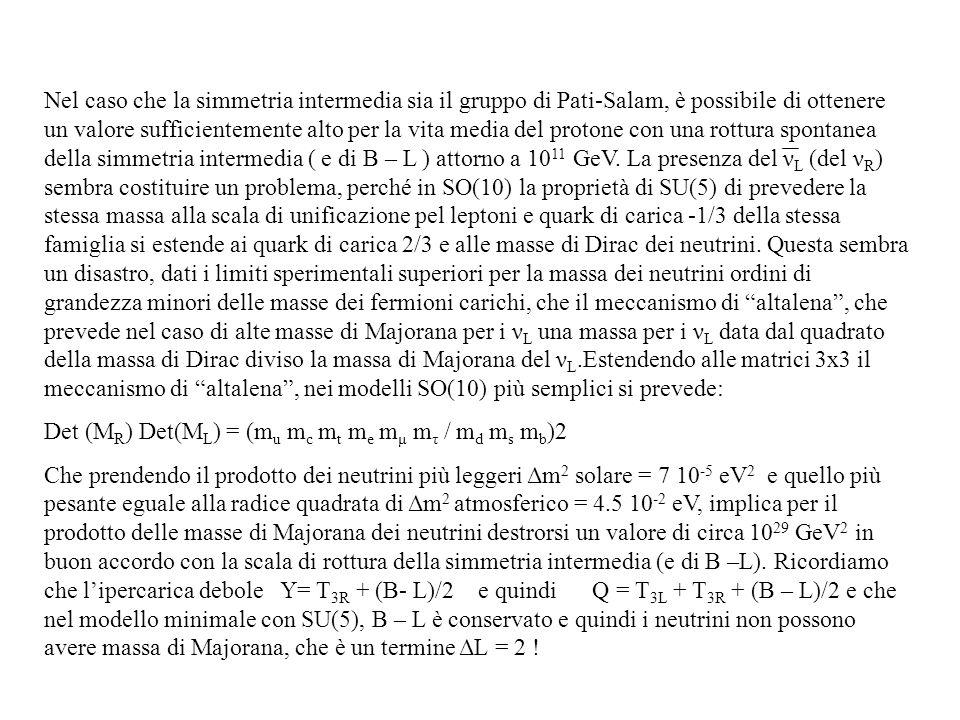 Nel caso che la simmetria intermedia sia il gruppo di Pati-Salam, è possibile di ottenere un valore sufficientemente alto per la vita media del proton