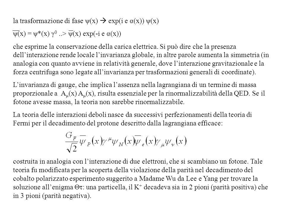 la trasformazione di fase ψ(x) exp(i e α(x)) ψ(x) ψ(x) = ψ*(x) γ 0..> ψ(x) exp(-i e α(x)) che esprime la conservazione della carica elettrica. Si può