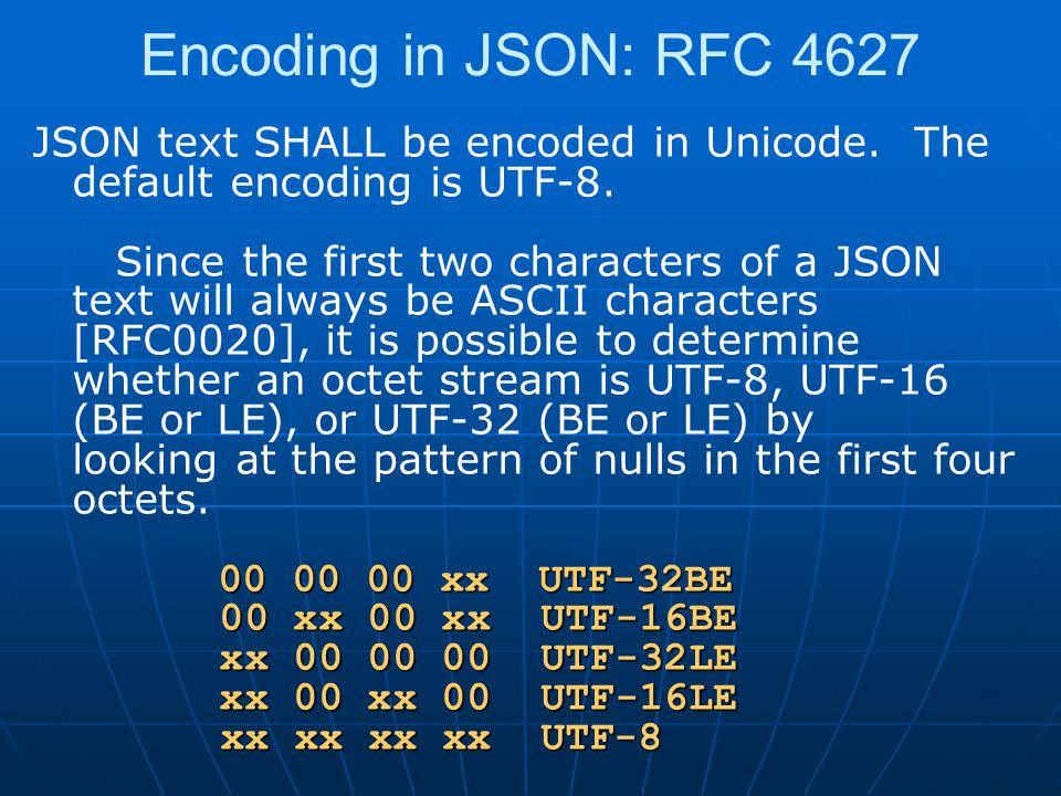 Encoding in JSON: RFC 4627 00 00 00 xx UTF-32BE 00 xx 00 xx UTF-16BE xx 00 00 00 UTF-32LE xx 00 xx 00 UTF-16LE xx xx xx xx UTF-8 JSON text SHALL be encoded in Unicode.