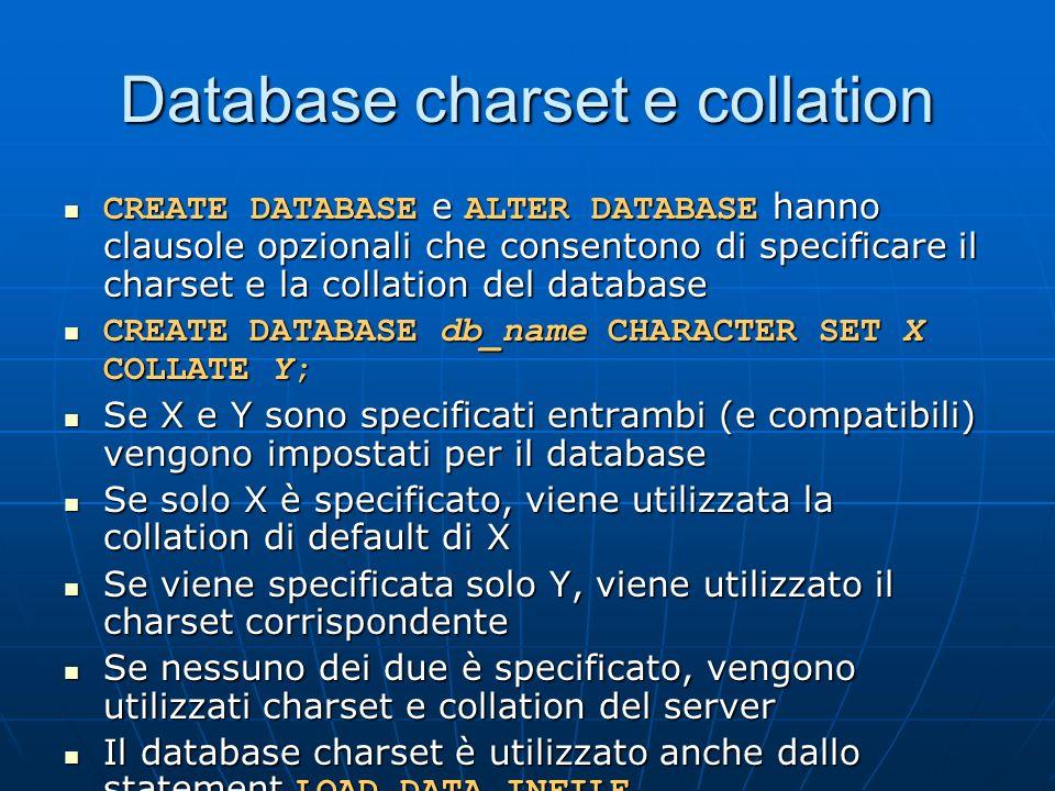 Database charset e collation CREATE DATABASE e ALTER DATABASE hanno clausole opzionali che consentono di specificare il charset e la collation del database CREATE DATABASE e ALTER DATABASE hanno clausole opzionali che consentono di specificare il charset e la collation del database CREATE DATABASE db_name CHARACTER SET X COLLATE Y; CREATE DATABASE db_name CHARACTER SET X COLLATE Y; Se X e Y sono specificati entrambi (e compatibili) vengono impostati per il database Se X e Y sono specificati entrambi (e compatibili) vengono impostati per il database Se solo X è specificato, viene utilizzata la collation di default di X Se solo X è specificato, viene utilizzata la collation di default di X Se viene specificata solo Y, viene utilizzato il charset corrispondente Se viene specificata solo Y, viene utilizzato il charset corrispondente Se nessuno dei due è specificato, vengono utilizzati charset e collation del server Se nessuno dei due è specificato, vengono utilizzati charset e collation del server Il database charset è utilizzato anche dallo statement LOAD DATA INFILE Il database charset è utilizzato anche dallo statement LOAD DATA INFILE