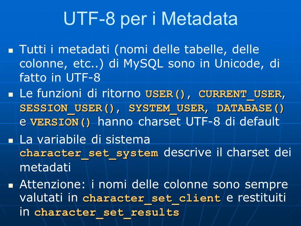 UTF-8 per i Metadata Tutti i metadati (nomi delle tabelle, delle colonne, etc..) di MySQL sono in Unicode, di fatto in UTF-8 USER(), CURRENT_USER, SESSION_USER(), SYSTEM_USER, DATABASE() e VERSION() Le funzioni di ritorno USER(), CURRENT_USER, SESSION_USER(), SYSTEM_USER, DATABASE() e VERSION() hanno charset UTF-8 di default character_set_system La variabile di sistema character_set_system descrive il charset dei metadati character_set_client character_set_results Attenzione: i nomi delle colonne sono sempre valutati in character_set_client e restituiti in character_set_results
