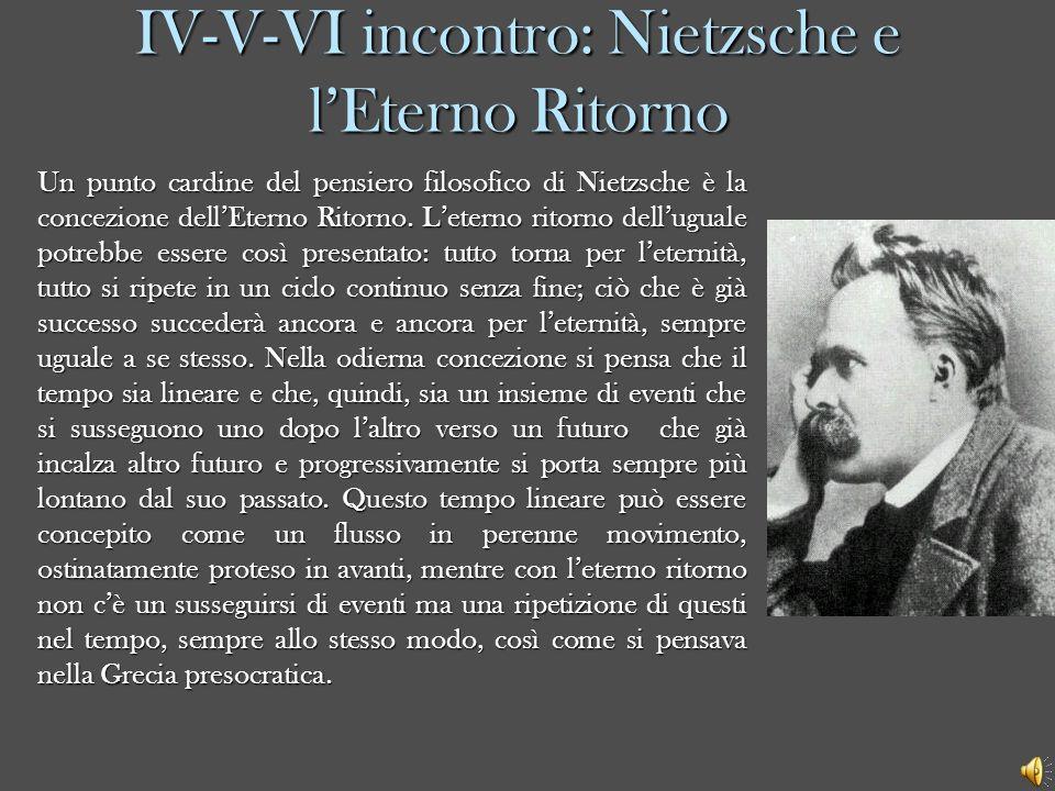 IV-V-VI incontro: Nietzsche e lEterno Ritorno Un punto cardine del pensiero filosofico di Nietzsche è la concezione dellEterno Ritorno. Leterno ritorn
