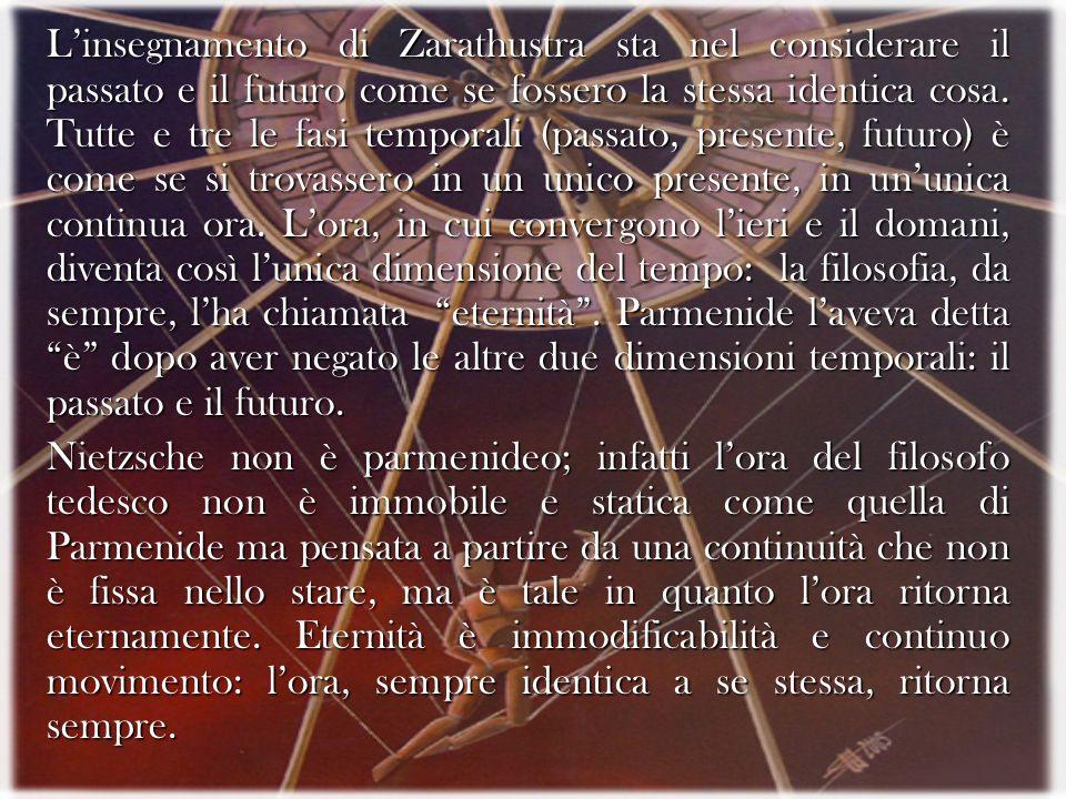 Linsegnamento di Zarathustra sta nel considerare il passato e il futuro come se fossero la stessa identica cosa. Tutte e tre le fasi temporali (passat
