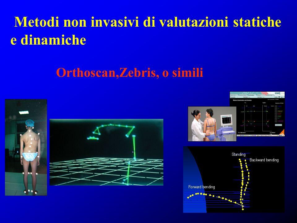 Metodi non invasivi di valutazioni statiche e dinamiche Orthoscan,Zebris, o simili
