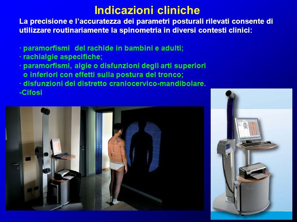 Indicazioni cliniche La precisione e laccuratezza dei parametri posturali rilevati consente di utilizzare routinariamente la spinometria in diversi co