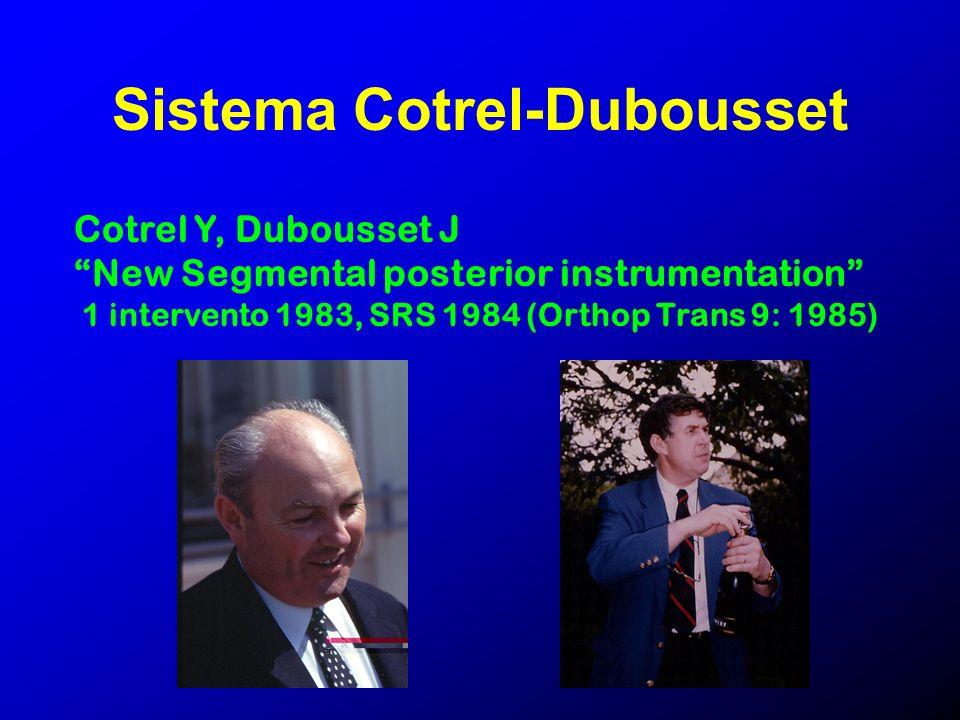 Sistema Cotrel-Dubousset Cotrel Y, Dubousset J New Segmental posterior instrumentation 1 intervento 1983, SRS 1984 (Orthop Trans 9: 1985)
