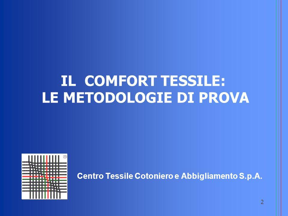 3 Comfort termofisiologico: le esigenze Perspirazione Sensibile Liquido Perspirazione Insensibile Vapore